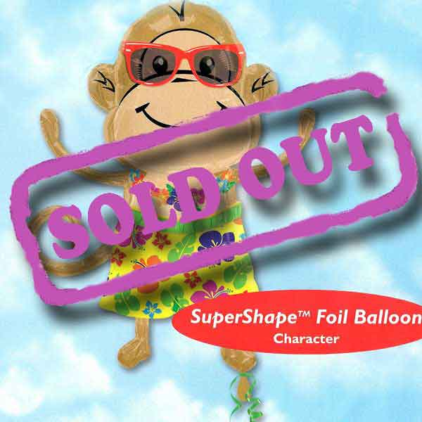 "Add-On 29""x33"" Helium Filled (Monkey Luau Boy) Mylar Floating Balloon"