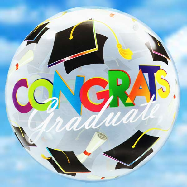 "22"" (Grad Hats) Floating Balloon With Delivery"