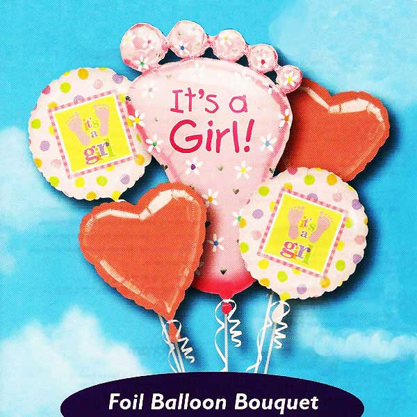 "Add-On ""It is a Girl!"" Floating Helium Bouquet Balloons ( 5pcs )"