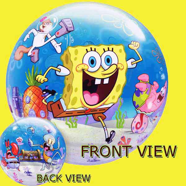 "Add-On 22"" Helium Filled Round ( SpongeBob ) Floating Bubble Stretchy Plasti"