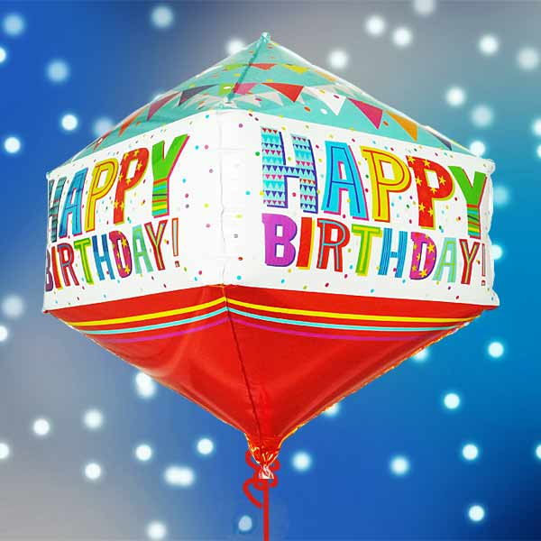 Add On Helium Rhombus ShapeDiamond Shape Birthday Foil Balloon 50cm Height