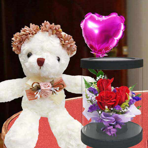 15cm Bear and a Heart-Shape Balloon with 3 Red Roses...