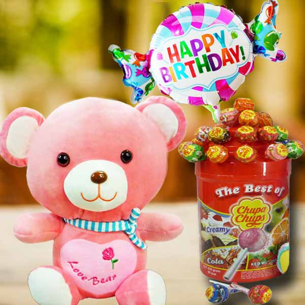 38cm Bear with Lollipop Candies & Happy Birthday Balloon