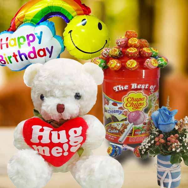 38cm Bear with Lollipop Candies With Rose & Birthday Balloon.