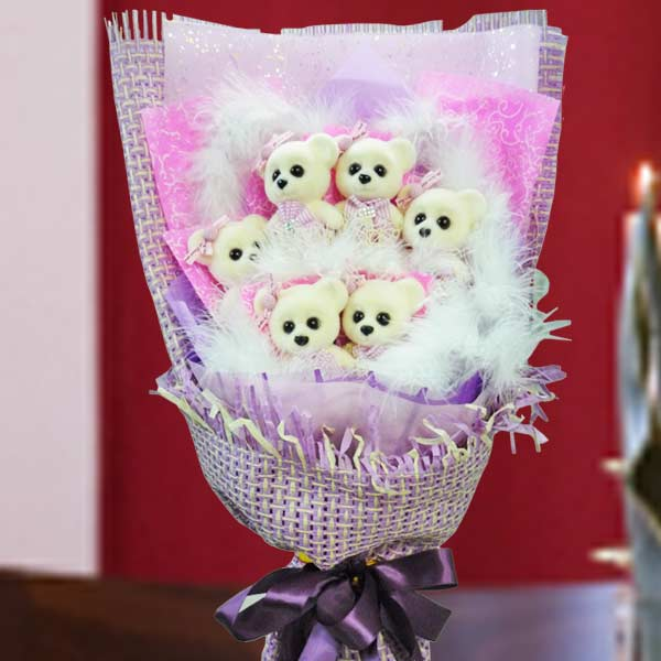 6 Mini ( 4 inches ) Bear Bouquet