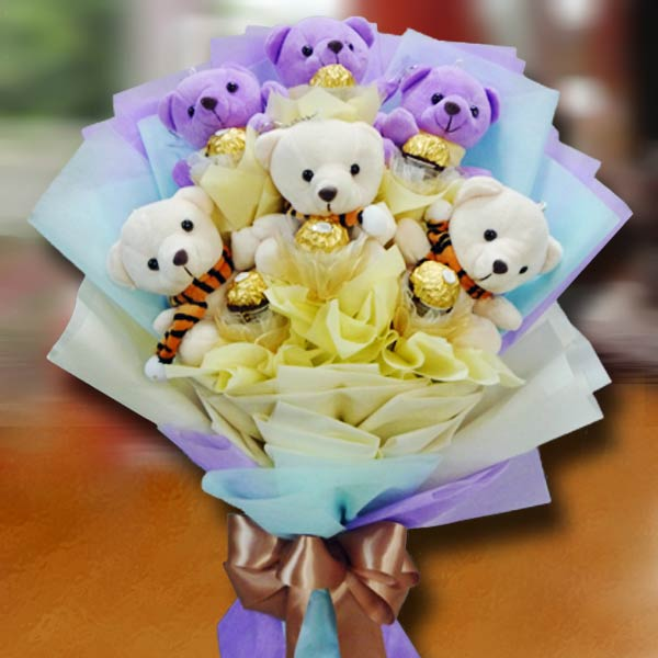 Teddy Bear Bouquet | Flowers Arrangement Delivery