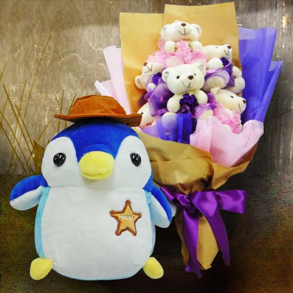25cm Penguin Stuffed Toy & 6 Mini Bears Bouquet