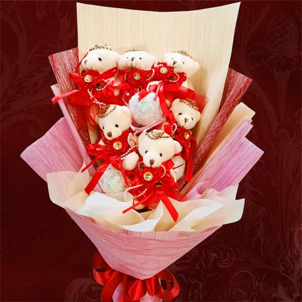 6 Mini Bears (8cm) Hand Bouquet With Balloons