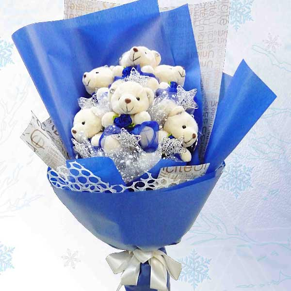 6 Mini Bear Bouquet With Silver Star
