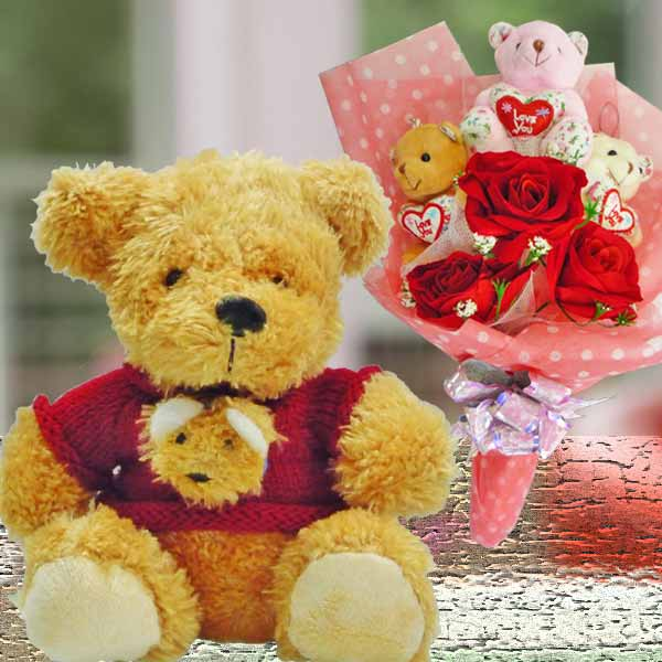 "8"" Bear & 3 Mini Bears With Artificial Roses Bouquet"