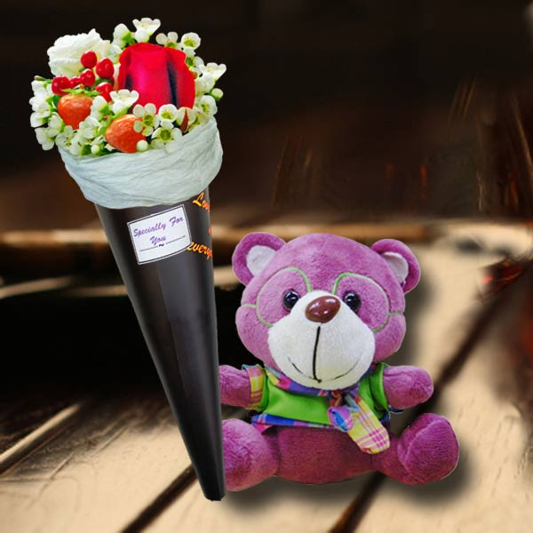 8 Inches Bear with Sunflower Standing Bouquet