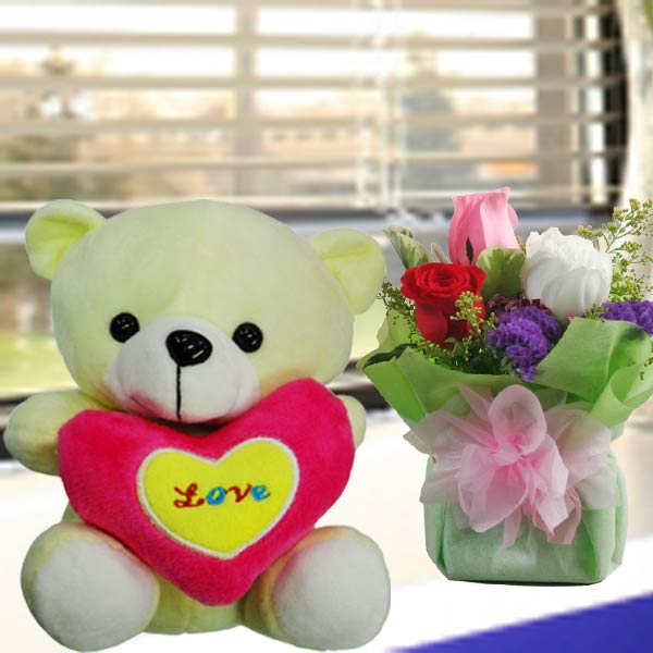 3 Roses standing bouquet With 20cm (MOM I love u) Bear