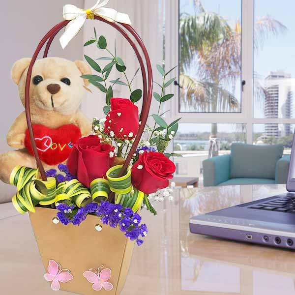 13cm Lavender Bear with 3 Red Roses in Portable Paper Bag