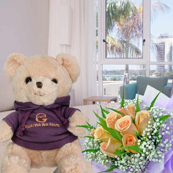 8 Inches Bear with 12 Champagne Roses