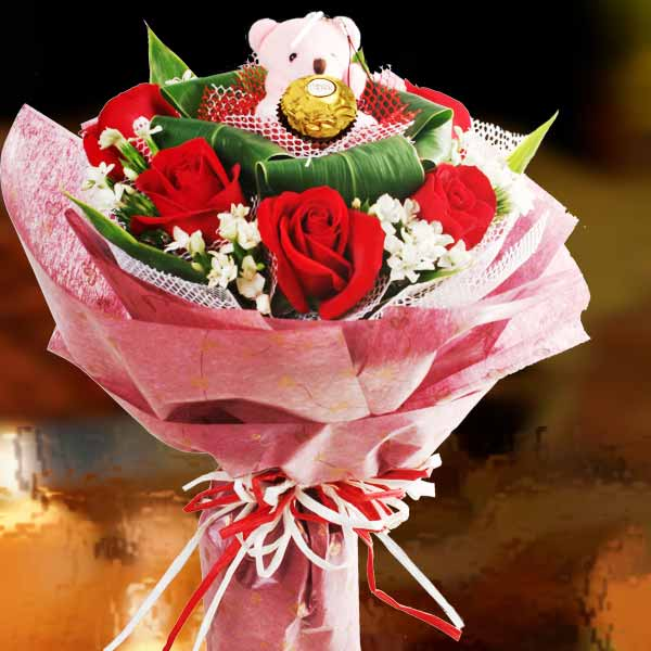 6 Red Roses with Bear & Ferrero Rocher at centre
