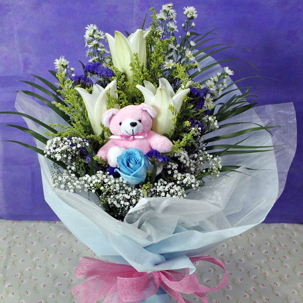 3 White Lily & 1 Blue Rose With Bear at center