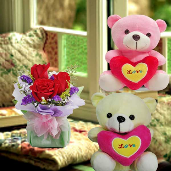 (Choose One) 16cm Bear With Love Pillow With Roses Standing Bouquet