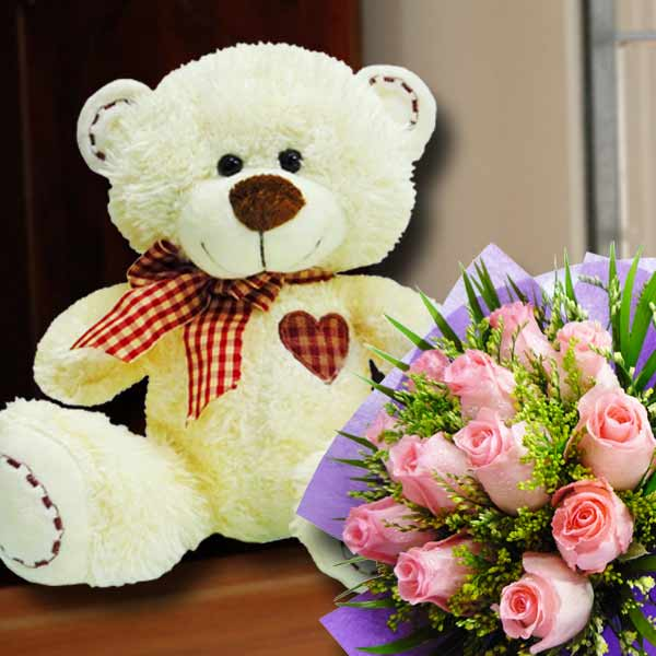 12 Inches Bear with 12 Peach Roses