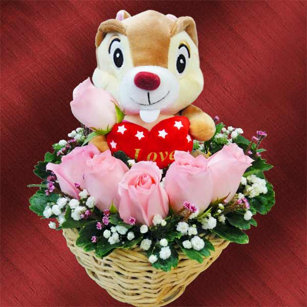 6 Peach Roses Arrangement, An Adorable Bear...