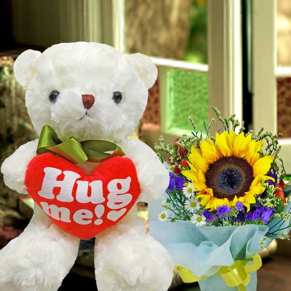6 Inches sitting Bear with Sunflower Standing Bouquet