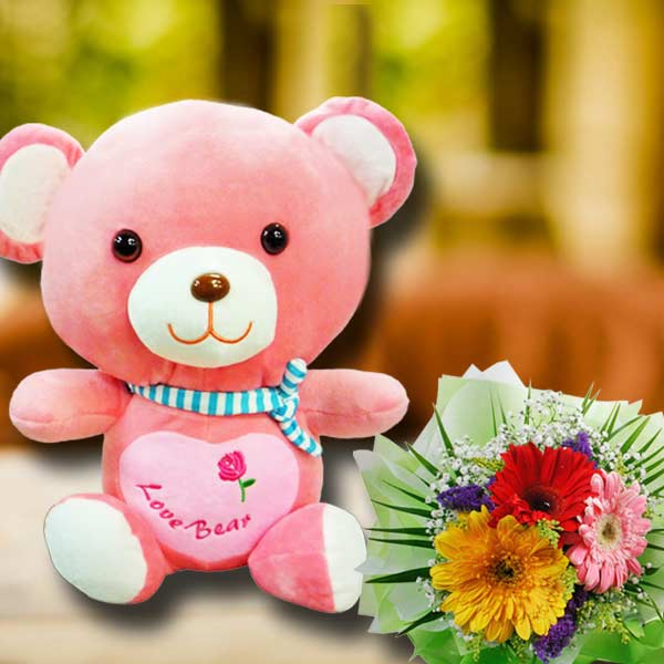 30cm I Love You Bear With Gerbera Flowers Bouquet