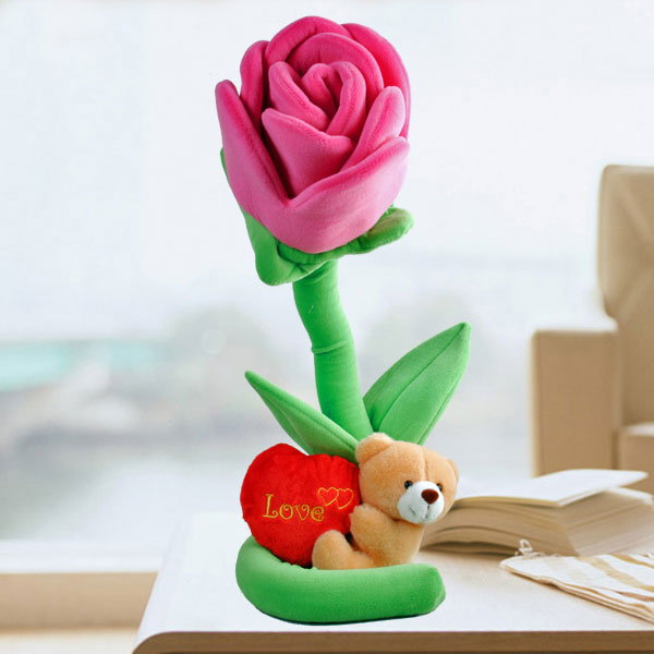 "15cm Plush Roses & 5"" Love Bear"