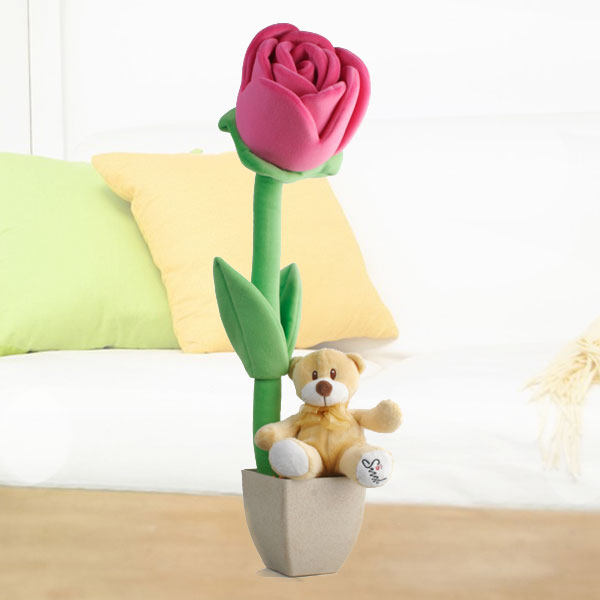 "15cm Plush Roses & ""Sirod"" 6 inches Bear"