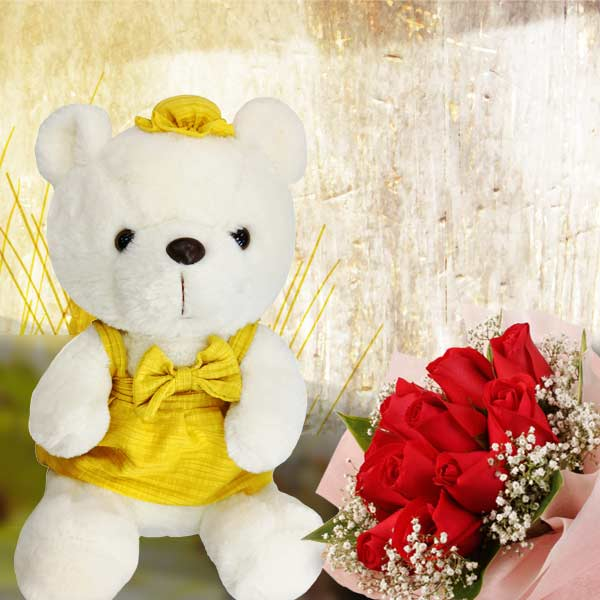 Red Roses Posy With 25cm Pink Bear