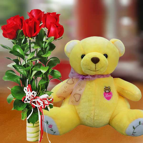 "8"" Bear with 6 Red Roses Standing Bouquet"