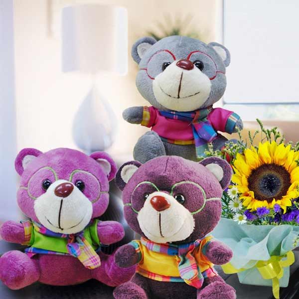 (Choose One) Professor Bear & SunFlower Bouquet