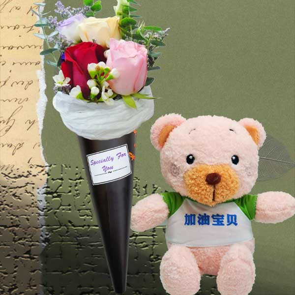 15cm Love Bear With 3 Mixed Roses Ice Cream Cone Bouquet (One Bear Only)