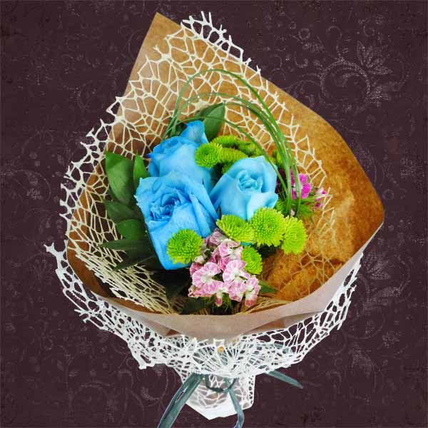 3 Blue Roses Small Hand Bouquet