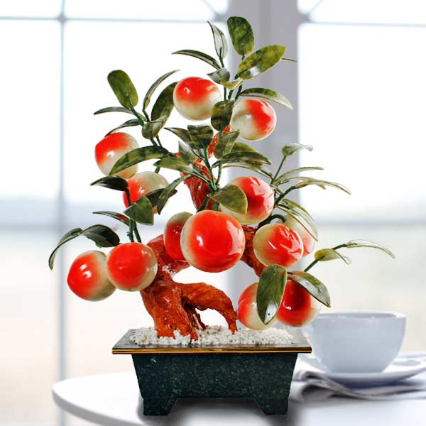 "Feng Shui Jade Peach Tree 18"" Height"