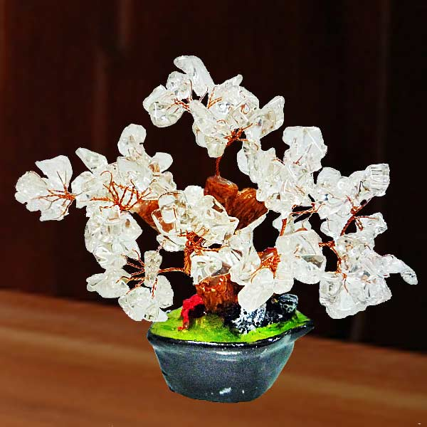Clear Quartz Feng Shui Crystal Gem Tree 10cm Height