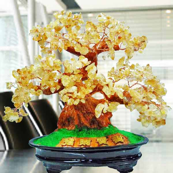 Feng Shui CITRINE Crystal Bonsai Tree 26cm Height