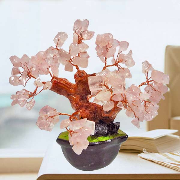 Natural Rose Quartz Crystal Gems Stone Bonsai 10cm Height