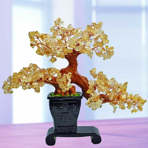 Feng Shui CITRINE Crystal Bonsai Tree 23cm Height