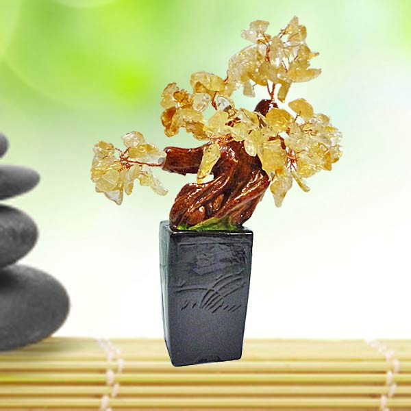 Feng Shui CITRINE Crystal Bonsai Tree 18cm Height.