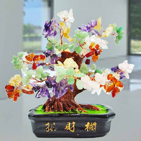 Multi-Crystal Wish-fulfilling Gem Tree 15cm Height