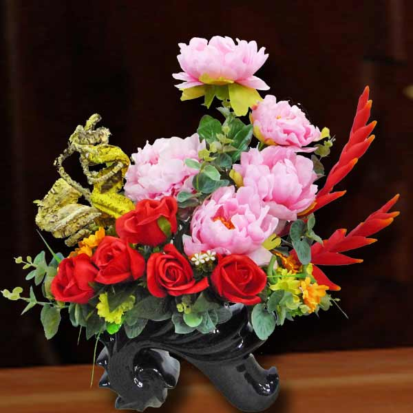 Artificial Pink Peony Flowers & Red Roses Arrangement