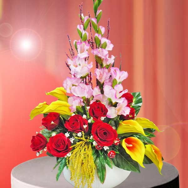 Artificial Flowers In Tall Vase Arrangement