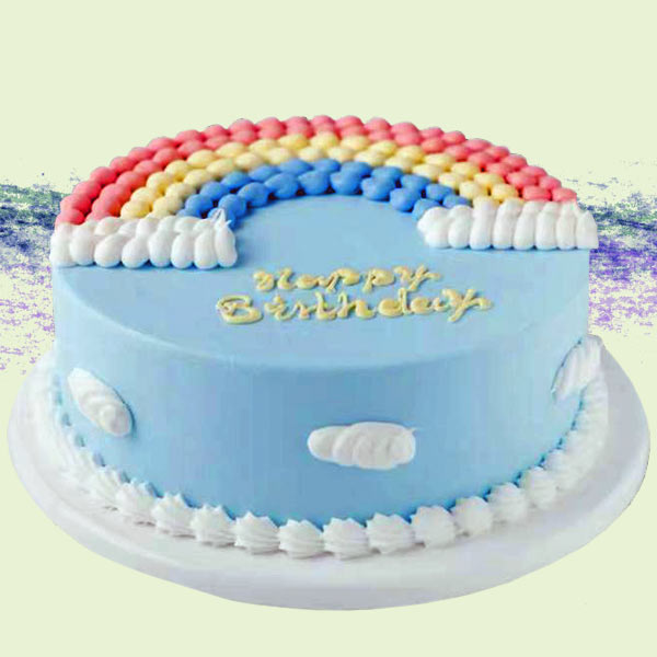 Add-On Rainbow Happy Birthday Sponge Cake 0.5 Kg