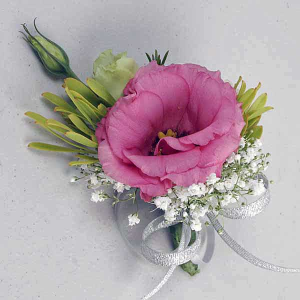 Pink Eustoma Boutonniere. ( Add-On Only, No Delivery )