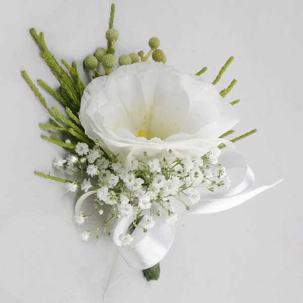 White Eustoma Boutonniere. ( Add-On Only, No Delivery )