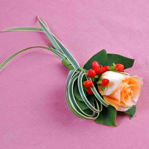 Champagne Rose & Hypericum Boutonniere ( Add-On Only, No Delivery )