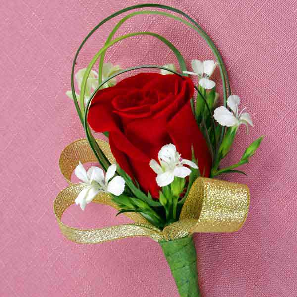 Red Rose & Sweet William Boutonniere ( Add-On Only, No Delivery )