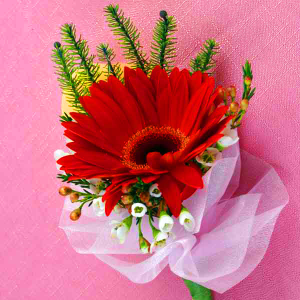 Red Gerbera Boutonniere ( Add-On Only, No Delivery )