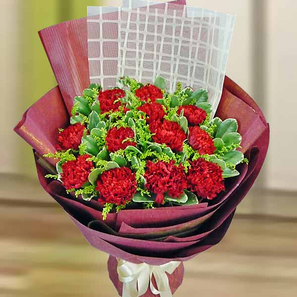 12 Red Carnation Special Wrapping Hand Bouquet