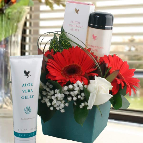 Skin Care & Gerbera Flowers Gift Basket
