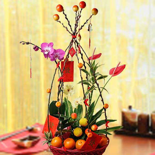 8 Oranges With Phalaenopsis Orchid Basket Arrangement